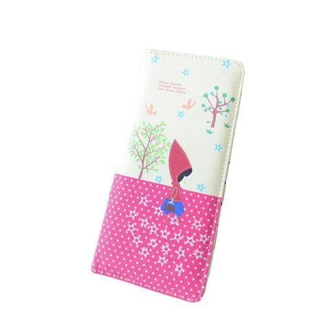 Fashion Women PU Leather Purse Little Red Riding Hood Polka Dot Wallet Candy Color Clutch Bag gallery 16