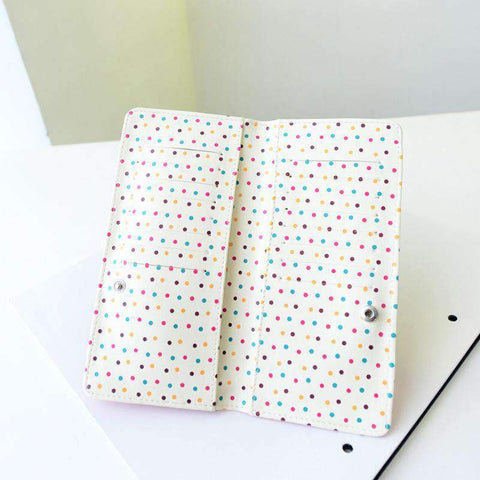 Fashion Women PU Leather Purse Little Red Riding Hood Polka Dot Wallet Candy Color Clutch Bag gallery 19