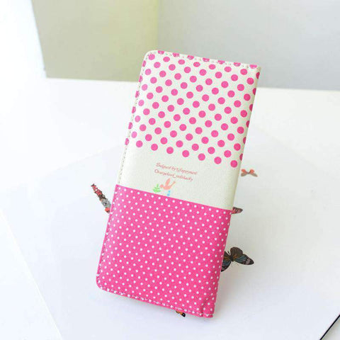 Fashion Women PU Leather Purse Little Red Riding Hood Polka Dot Wallet Candy Color Clutch Bag gallery 18