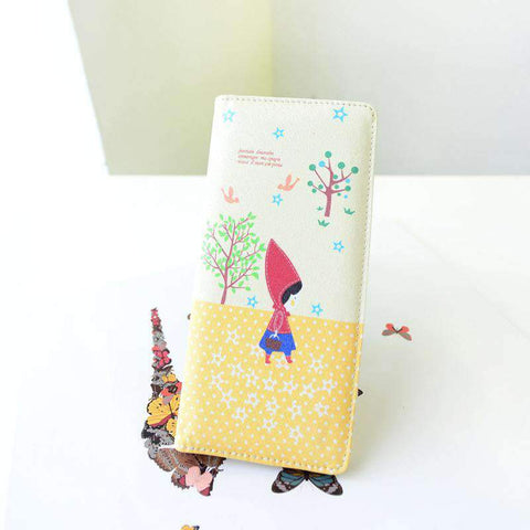 Fashion Women PU Leather Purse Little Red Riding Hood Polka Dot Wallet Candy Color Clutch Bag gallery 25