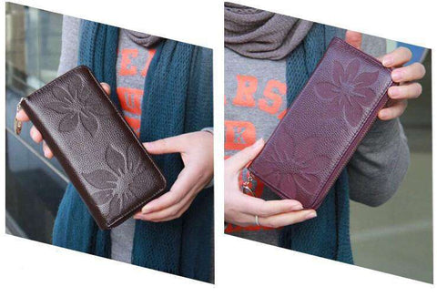 New Fashion Long Women Purse Floral Print PU Leather Candy Color Zip Wallet Card Holder Clutch gallery 9