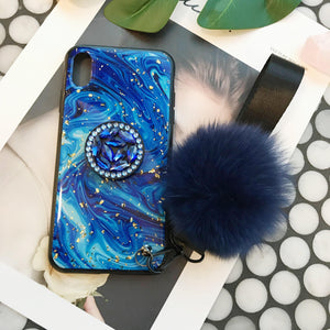 Color Star iPhone Case with Hair Ball and Phone Holder