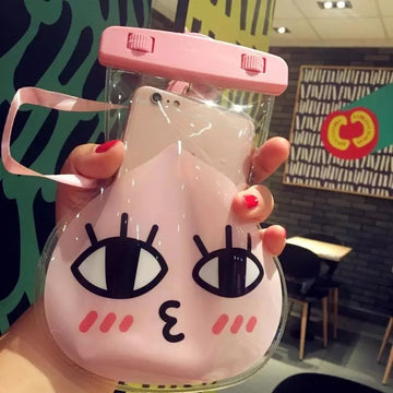 Solid Lovely Cartoon Character Shaped Waterproof Case Waterproof Phone Pouch Dry Bag