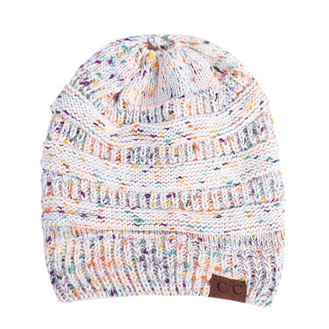 Women Stretch Knitted Beanie Hat Slouchy Mixed Color Hole Messy Bun High Ponytail Cool Winter Warm Cap gallery 14