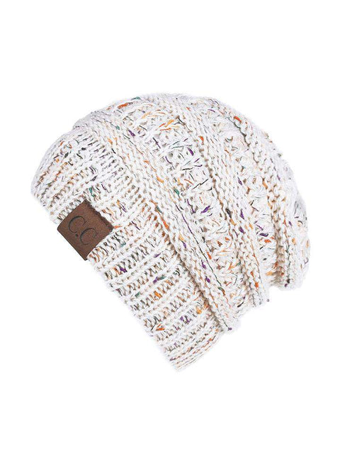 Women Stretch Knitted Beanie Hat Slouchy Mixed Color Hole Messy Bun High Ponytail Cool Winter Warm Cap gallery 12