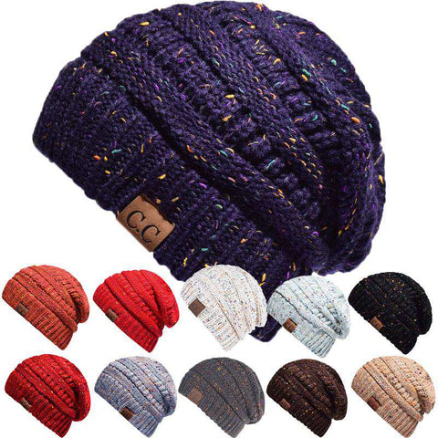 Women Stretch Knitted Beanie Hat Slouchy Mixed Color Hole Messy Bun High Ponytail Cool Winter Warm Cap gallery 17