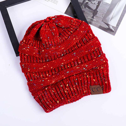 Women Stretch Knitted Beanie Hat Slouchy Mixed Color Hole Messy Bun High Ponytail Cool Winter Warm Cap gallery 18