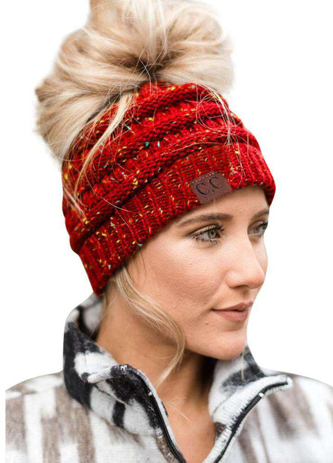 Women Stretch Knitted Beanie Hat Slouchy Mixed Color Hole Messy Bun High Ponytail Cool Winter Warm Cap gallery 20