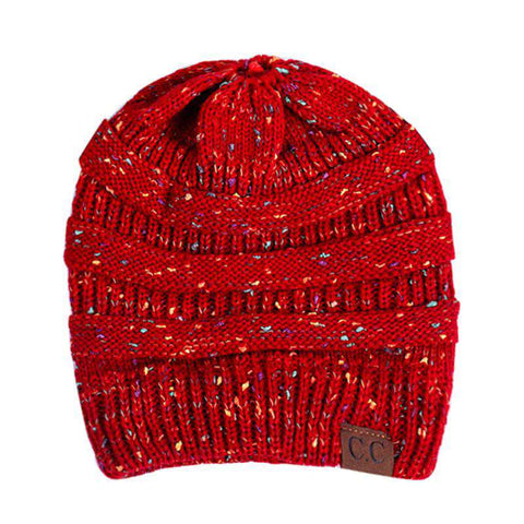 Women Stretch Knitted Beanie Hat Slouchy Mixed Color Hole Messy Bun High Ponytail Cool Winter Warm Cap gallery 19