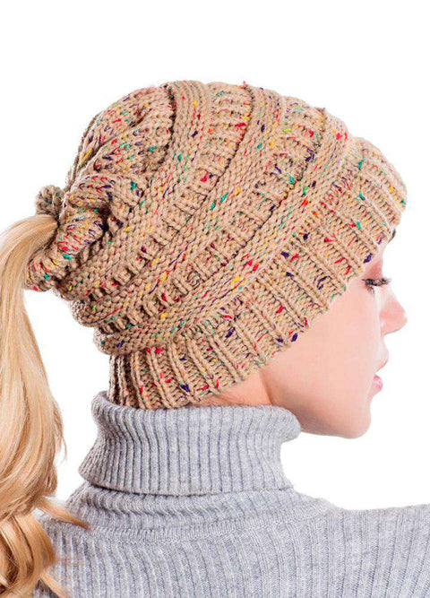 Women Stretch Knitted Beanie Hat Slouchy Mixed Color Hole Messy Bun High Ponytail Cool Winter Warm Cap gallery 24