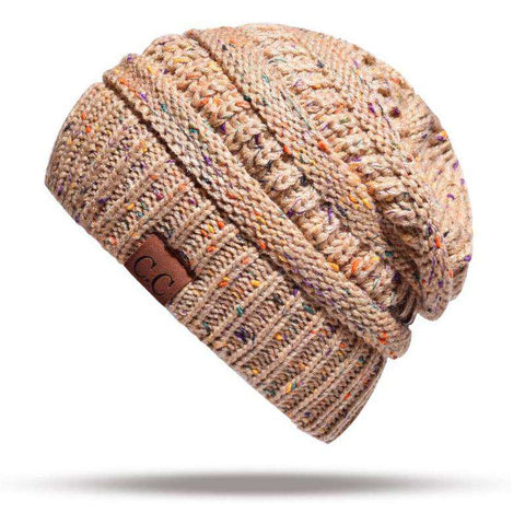 Women Stretch Knitted Beanie Hat Slouchy Mixed Color Hole Messy Bun High Ponytail Cool Winter Warm Cap gallery 21
