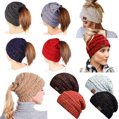 Women Stretch Knitted Beanie Hat Slouchy Mixed Color Hole Messy Bun High Ponytail Cool Winter Warm Cap gallery 25