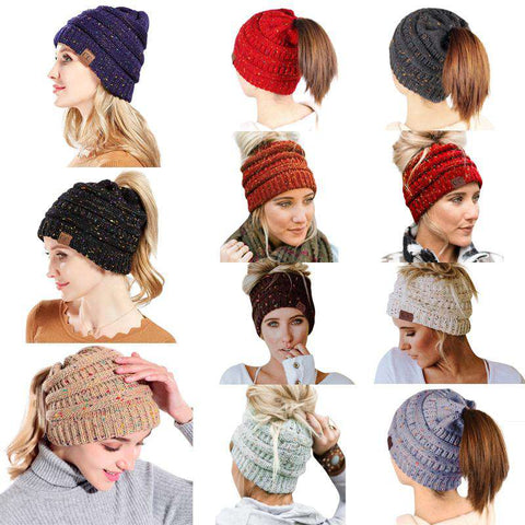 Women Stretch Knitted Beanie Hat Slouchy Mixed Color Hole Messy Bun High Ponytail Cool Winter Warm Cap gallery 23