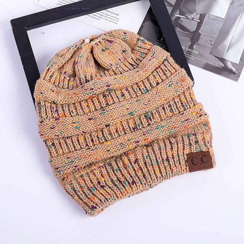 Women Stretch Knitted Beanie Hat Slouchy Mixed Color Hole Messy Bun High Ponytail Cool Winter Warm Cap gallery 22