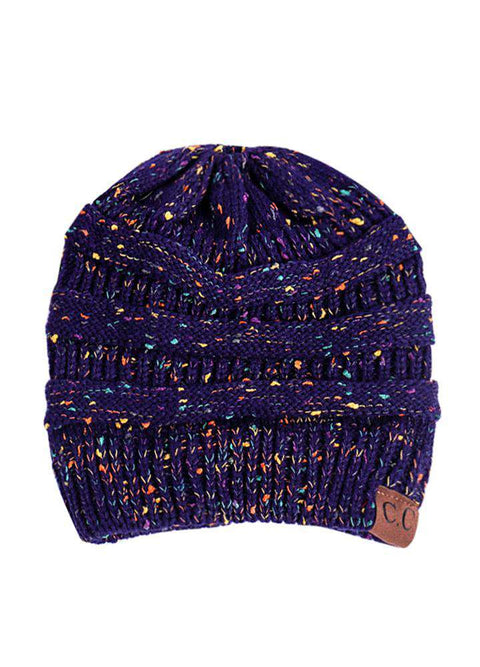 Women Stretch Knitted Beanie Hat Slouchy Mixed Color Hole Messy Bun High Ponytail Cool Winter Warm Cap gallery 8