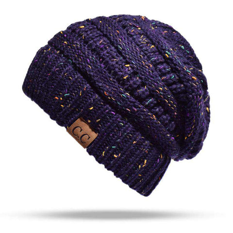 Women Stretch Knitted Beanie Hat Slouchy Mixed Color Hole Messy Bun High Ponytail Cool Winter Warm Cap gallery 6