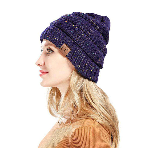 Women Stretch Knitted Beanie Hat Slouchy Mixed Color Hole Messy Bun High Ponytail Cool Winter Warm Cap gallery 10
