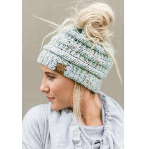 Women Stretch Knitted Beanie Hat Slouchy Mixed Color Hole Messy Bun High Ponytail Cool Winter Warm Cap gallery 3