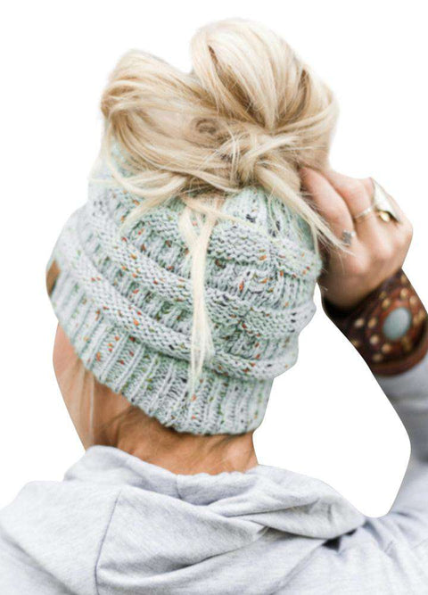 Women Stretch Knitted Beanie Hat Slouchy Mixed Color Hole Messy Bun High Ponytail Cool Winter Warm Cap gallery 2