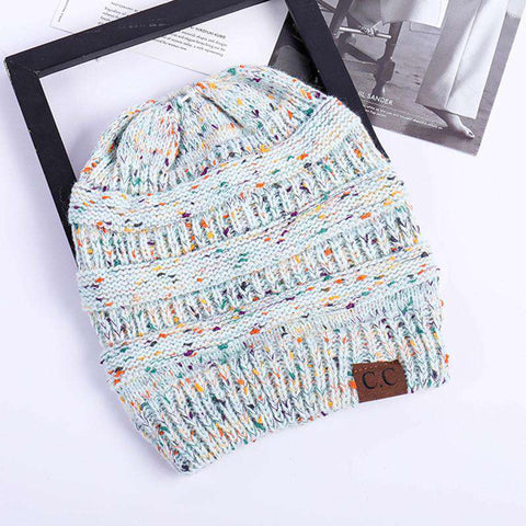Women Stretch Knitted Beanie Hat Slouchy Mixed Color Hole Messy Bun High Ponytail Cool Winter Warm Cap gallery 5