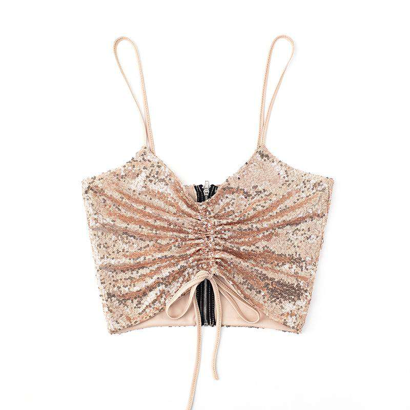 Gold Sequin Ruched Zip Back Cami Top