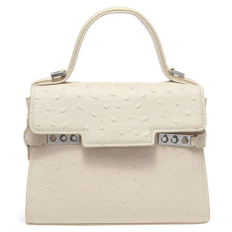 852e3138a9 Ostrich Embossed Leather Flap Bag Tophandle Bag – Flamingo