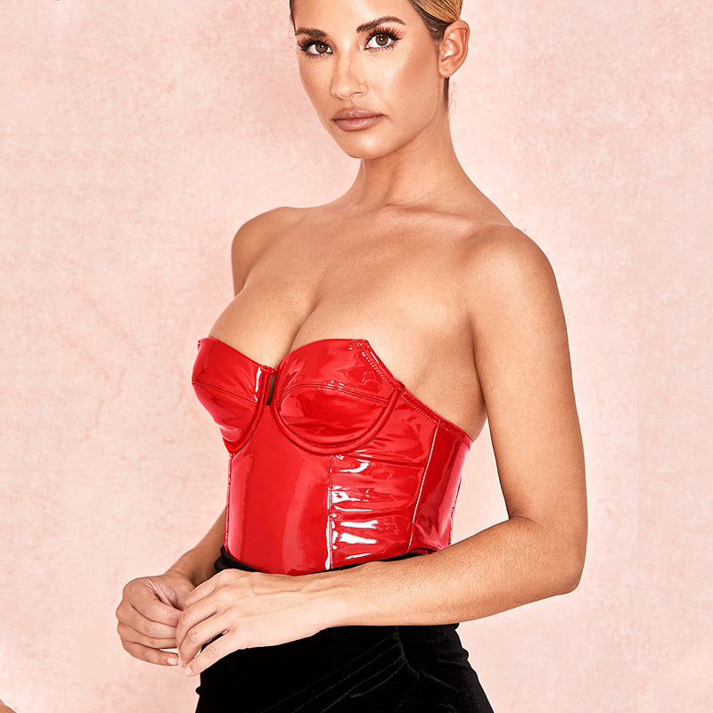 PU Leather Bandeau Bodysuit
