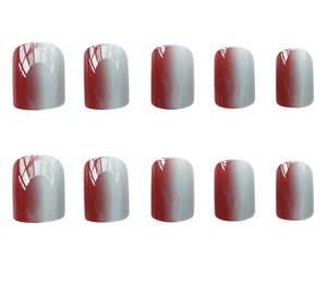 Joint Color Red N White Magic Press Nail Manicure