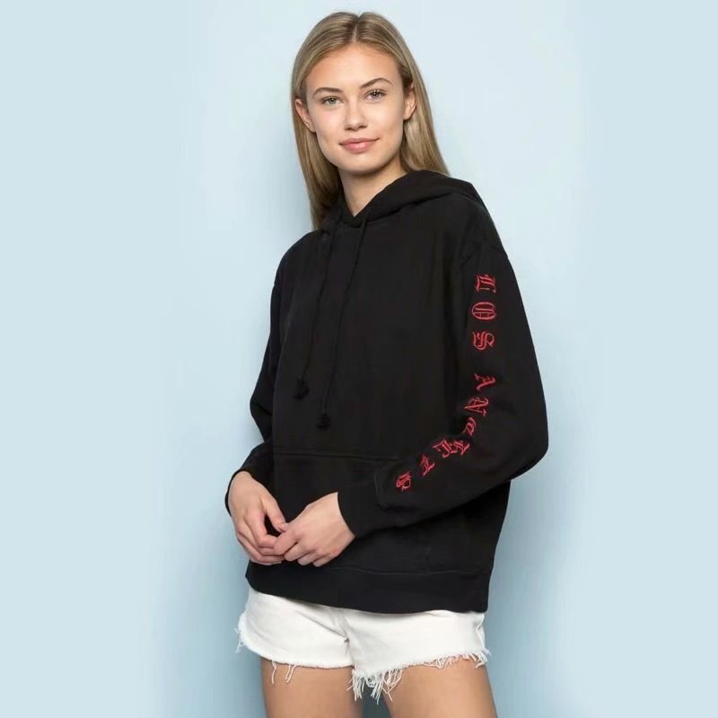 Loose Embroidered Letters Sleeve Drawstring Hoodie