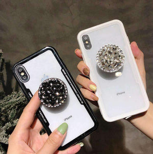 Transparent iPhone Case With Crystal Rhinestone Holder