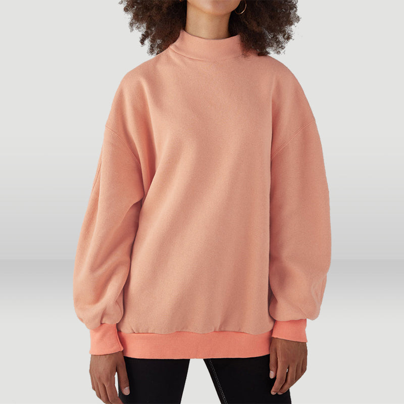 Half A Turtleneck Solid Light Peach Oversize Hoodie