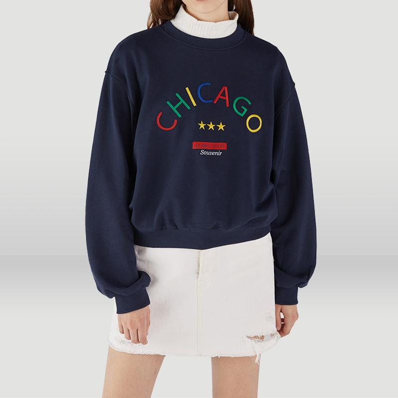 Embroidered Ribbed Rainbow Letter Sweatshirts