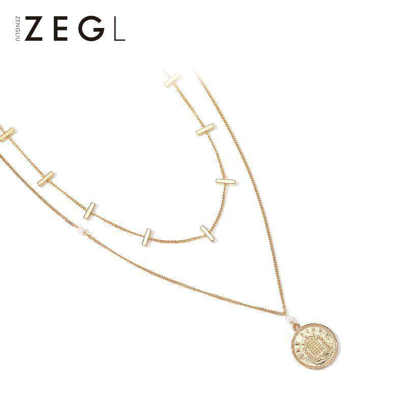Gold Coin Double Layered Necklace