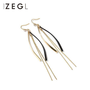Retro Simple Long Tassel Drop Earrings
