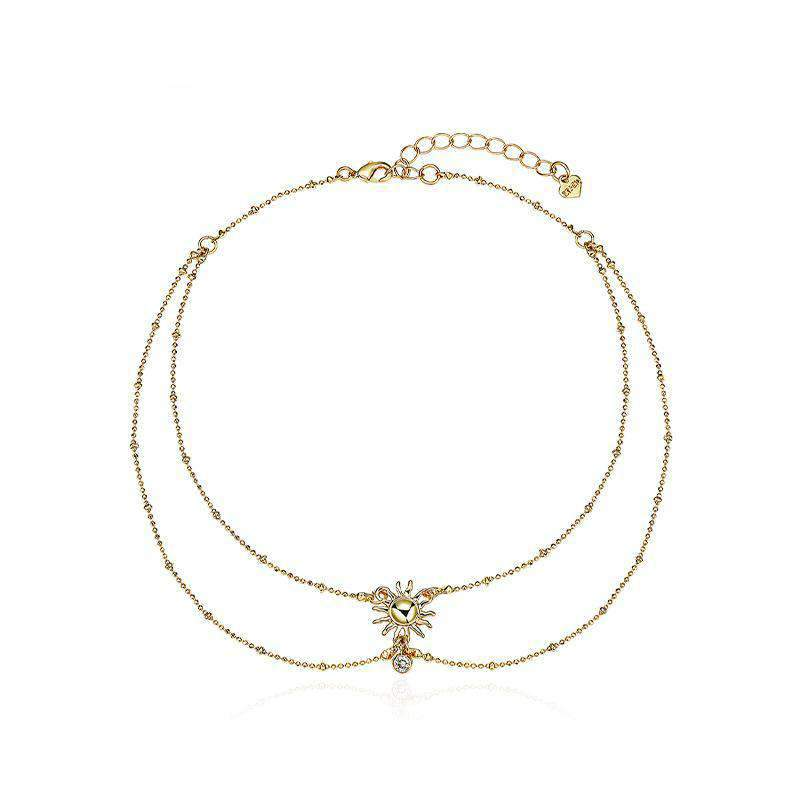 Gold Sun Double Layered Choker Necklace