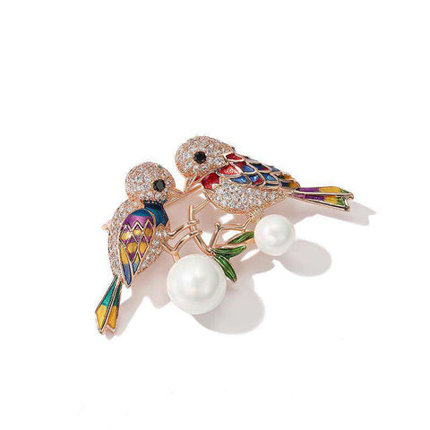 Multi-color Bird and Faux Pearl Brooch gallery 1