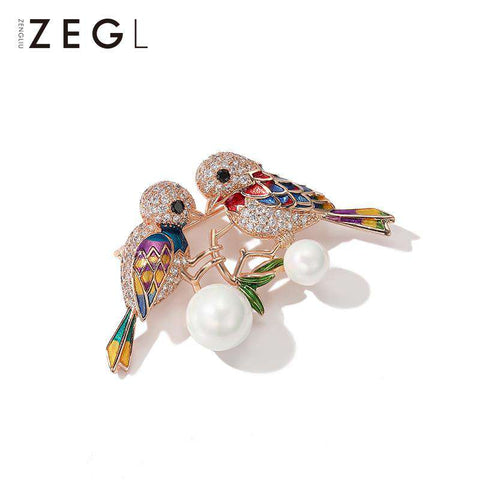 Multi-color Bird and Faux Pearl Brooch gallery 3