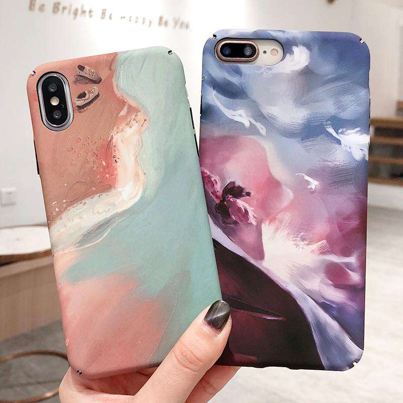 Starry Sky & Beach Print Luminous Frosted iPhone Case