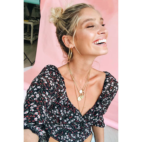 Ditsy Floral Print Sweetheart Neck Crop Top