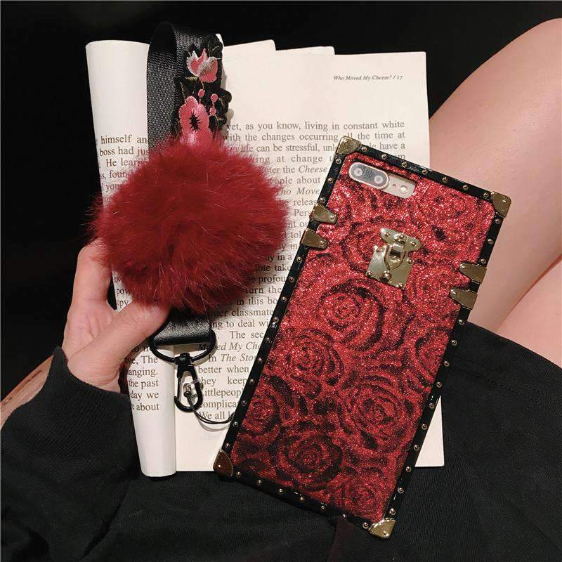 Luxury Floral Pattern Phone Case for Samsung with Wristband and  Fuzzy Furry Plush Ball