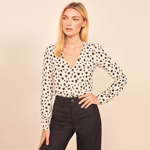 Dalmatian Print V Neck Button Front Top