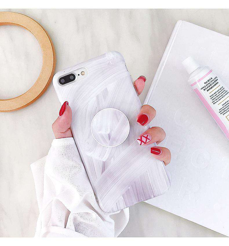 Instagram Vibe Korean Style Marble Pattern Phone Case For iPhone With Holder