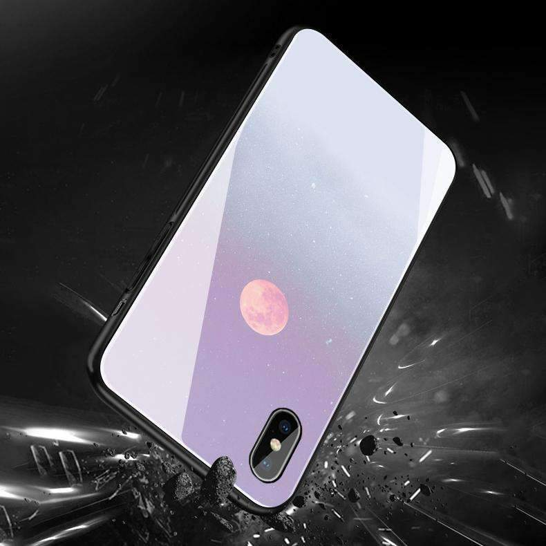 Concise Mirror Moon Cloud Pattern Soft Phone Case for Apple iPhone