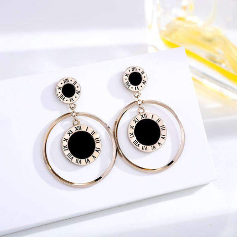 Agate Vintage Roma Numbers Circular Earrings