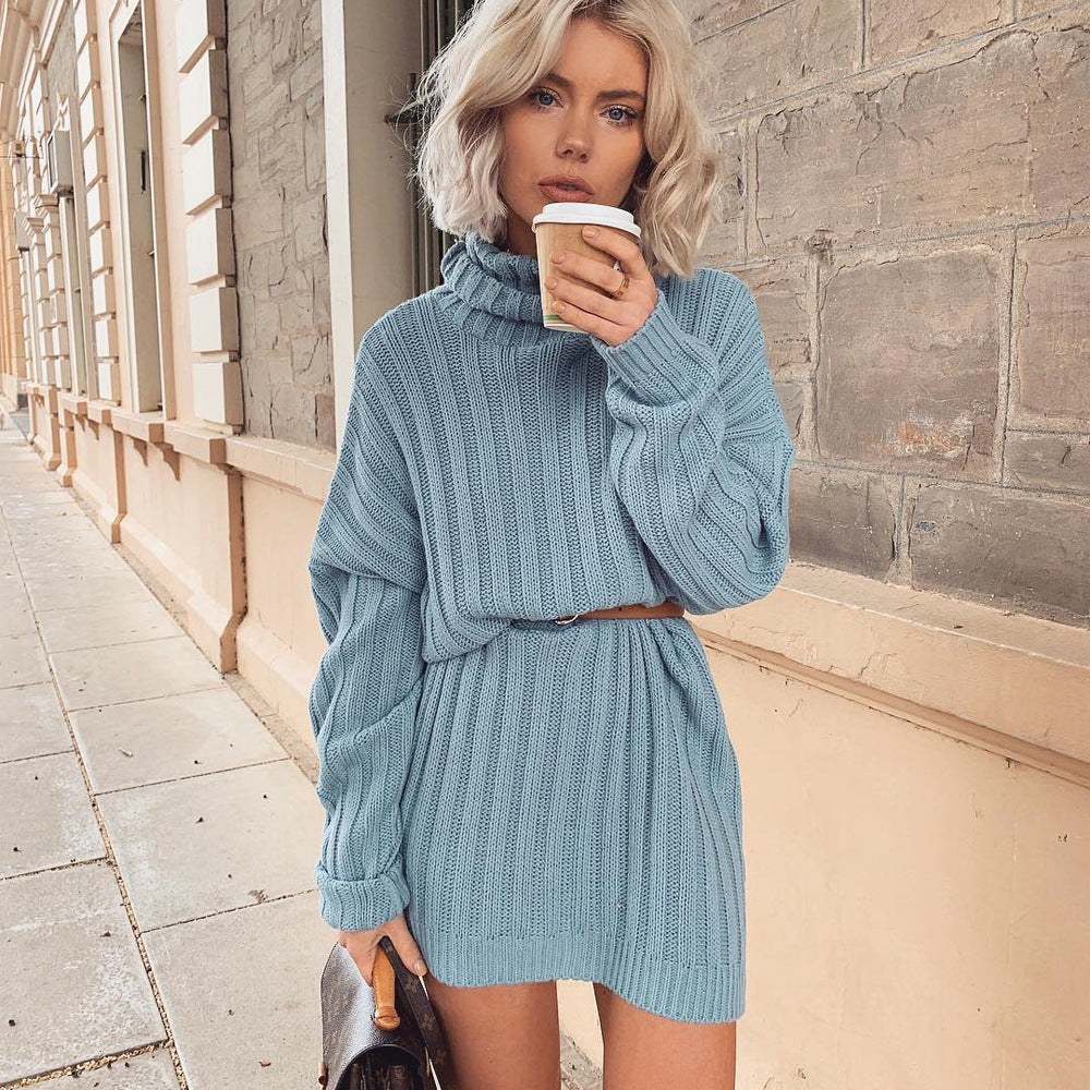 Ribbed Knit High Neck Sweater Dress