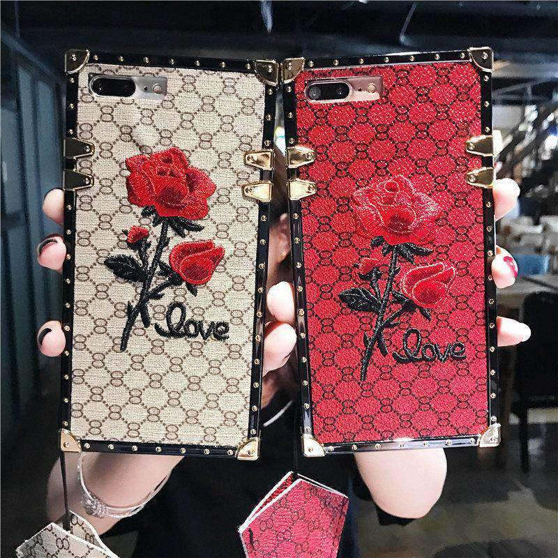 Rose Embroidered Phone Case for Samsung with Strap