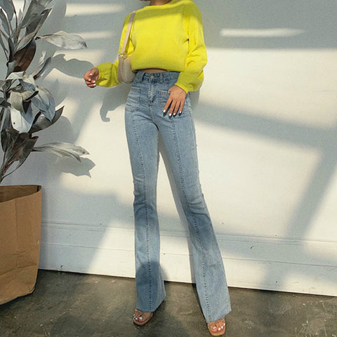 High Rise Down The Line Light Wash Flare Jeans