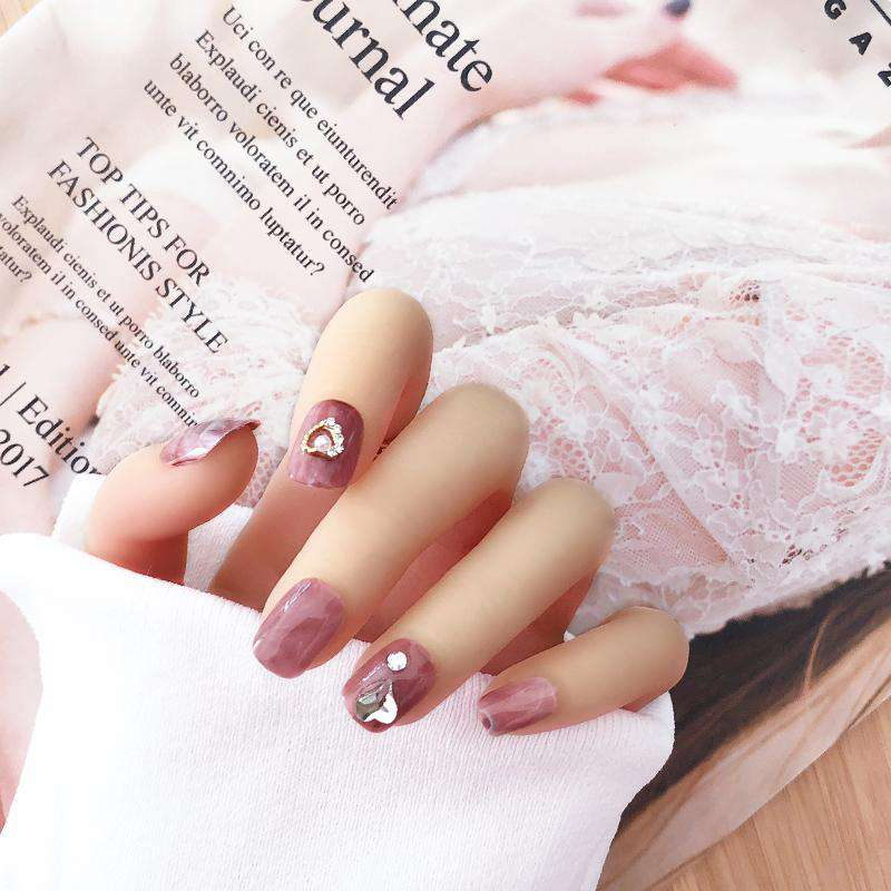 Rhinestone Rose Petal Magic Press Nail Manicure
