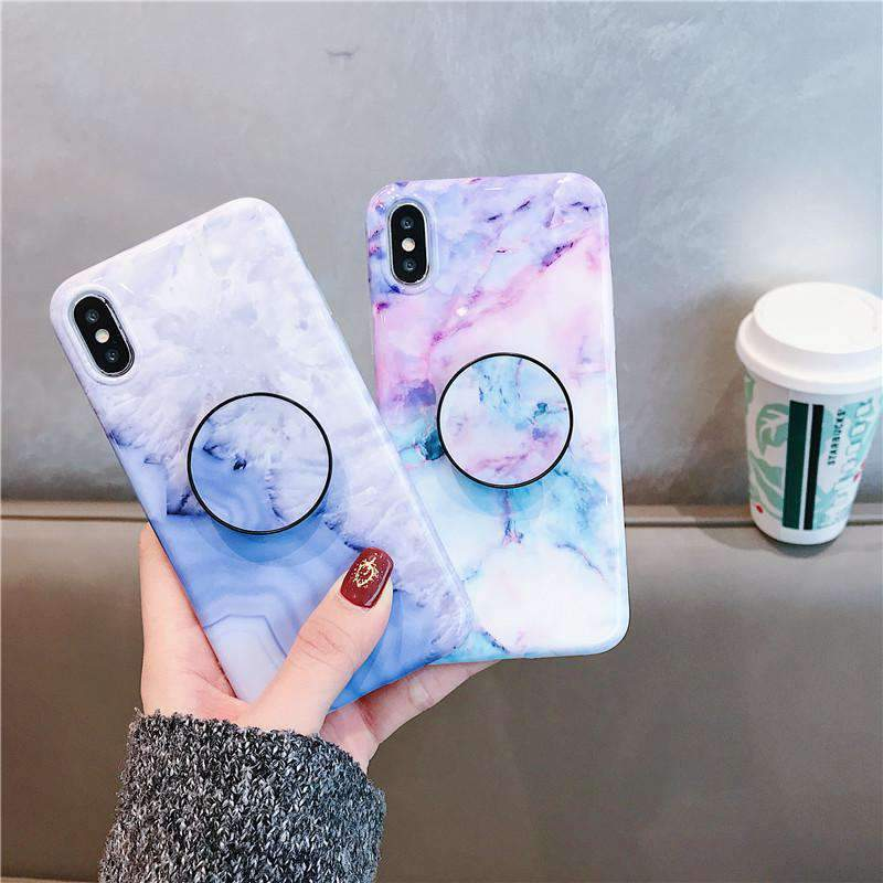 Colorful Marble Pattern iPhone Case with Phone Holder