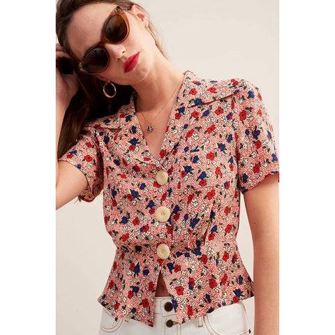 Retro Ditsy Floral Button Up Top
